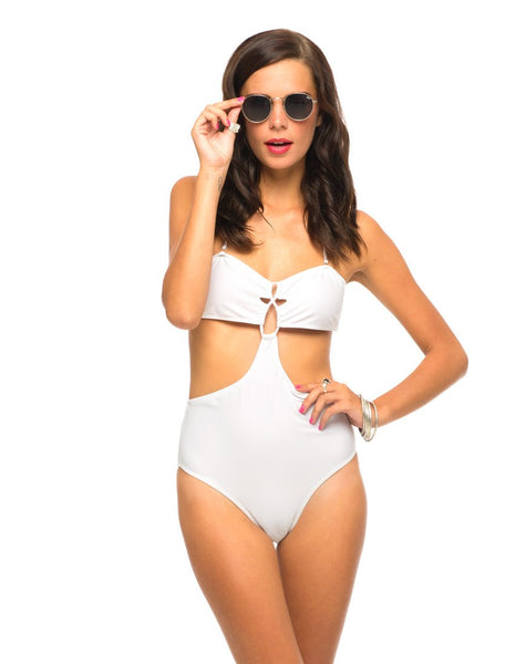 Moonbeam Swimsuit in White by Motel