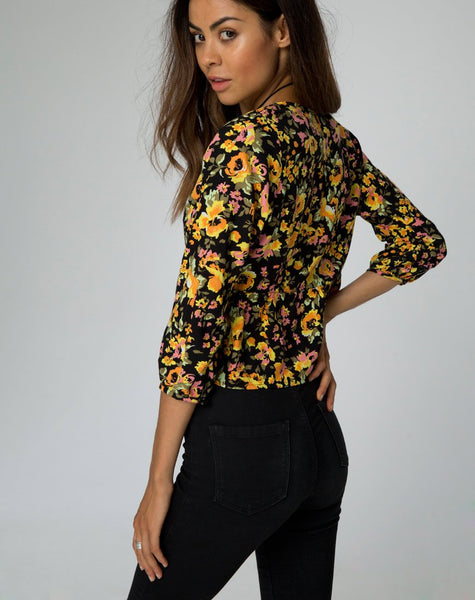 Mosca Plunge Top in Agatha Flower by Motel