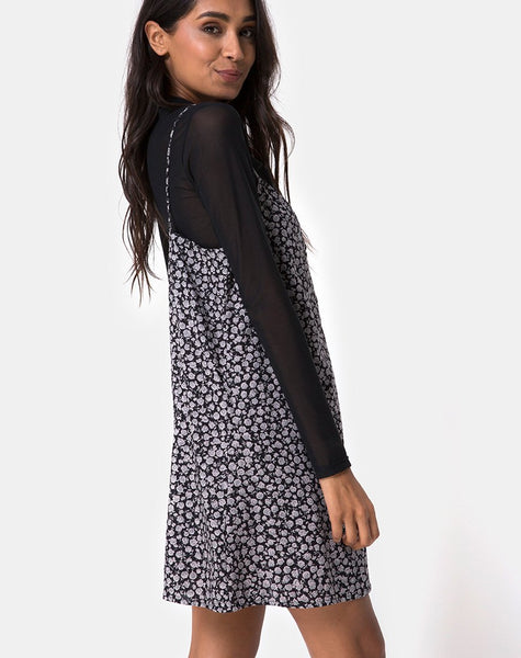 Sanna Slip Dress in Ditsy Rose Black by Motel