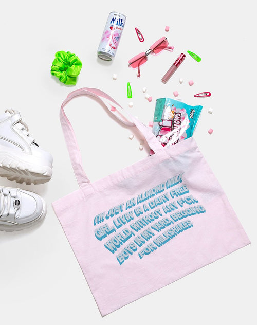 Tote Bag in Soft Pink with Almond Milk Girl Text by Motel X Top Girl