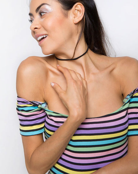 Natic Off The Shoulder Bodice in New stripe by Motel
