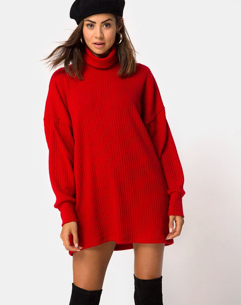 Neve High Neck Dress in Red By Motel