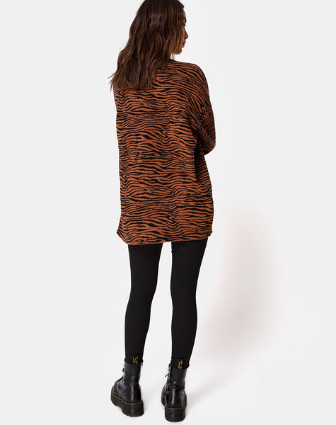 Neivie Roll Neck Jumper in Tiger Knit Brown by Motel