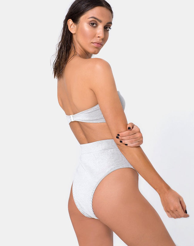 Nima Bikini Bottom in Crinkle Rib White by Motel