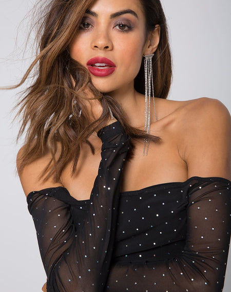 Natalia Off The Shoulder Bodice in Polka Net Black by Motel