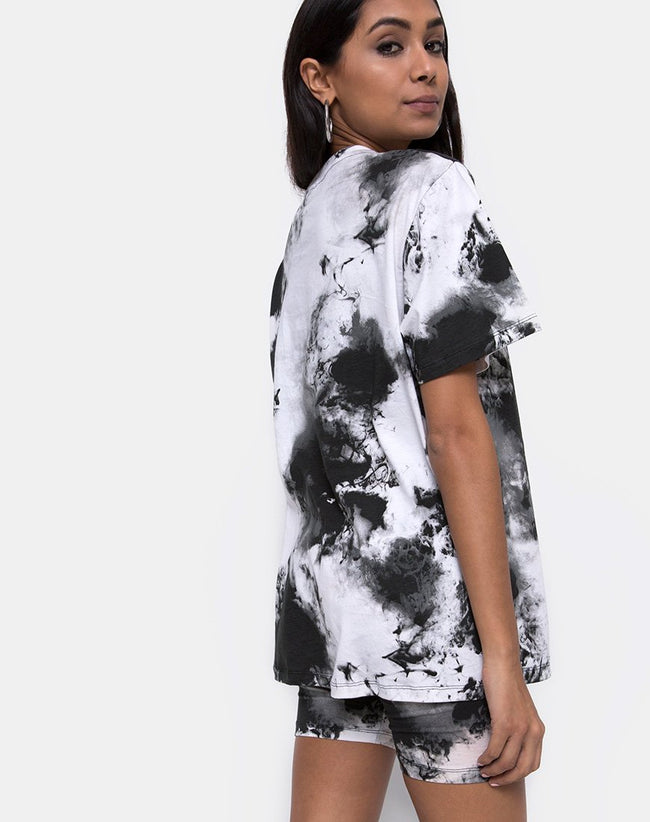 Oversize Basic Tee in Mono tie Dye Black and White by Motel