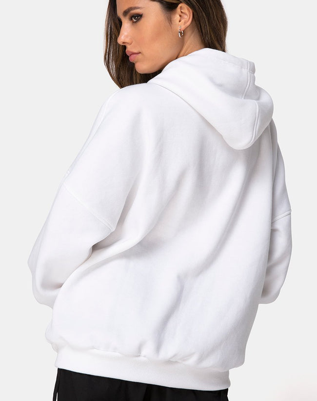 Oversize Hoody in White I Want it Embro by Motel