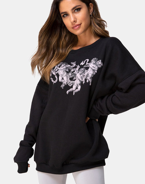 Sweatshirt in Black Cherub by Motel