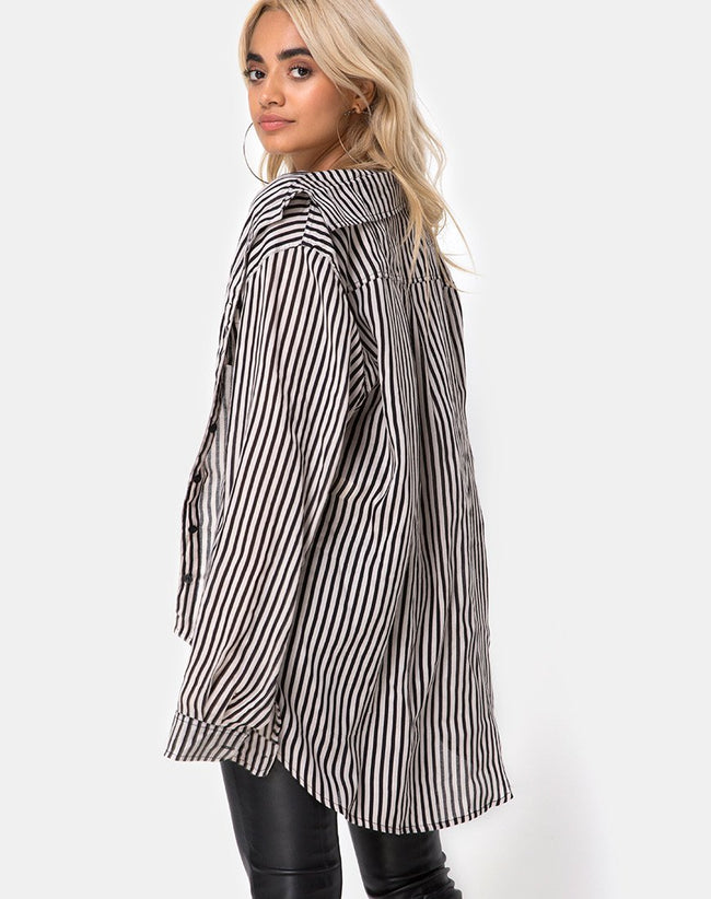 Oxford Shirt in Mini Pinstripe Black and Nude by Motel