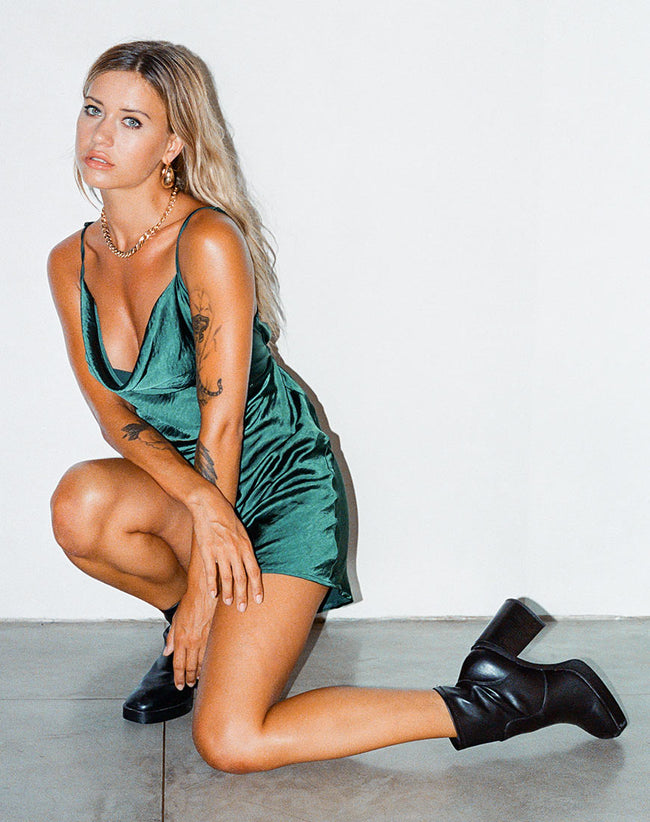Paiva Dress in Satin Forest Green by Motel
