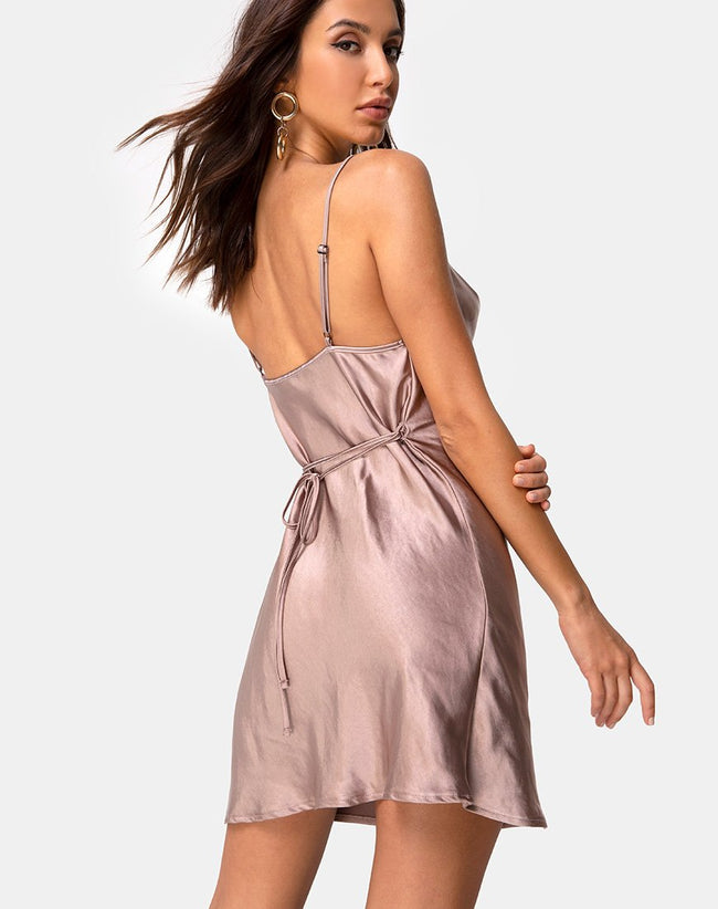 Paiva Dress in Satin Taupe by Motel