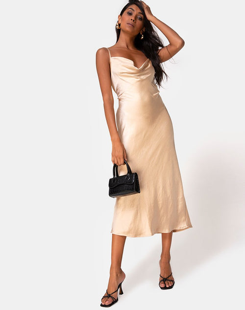 Palasha Dress in Satin Gold by Motel