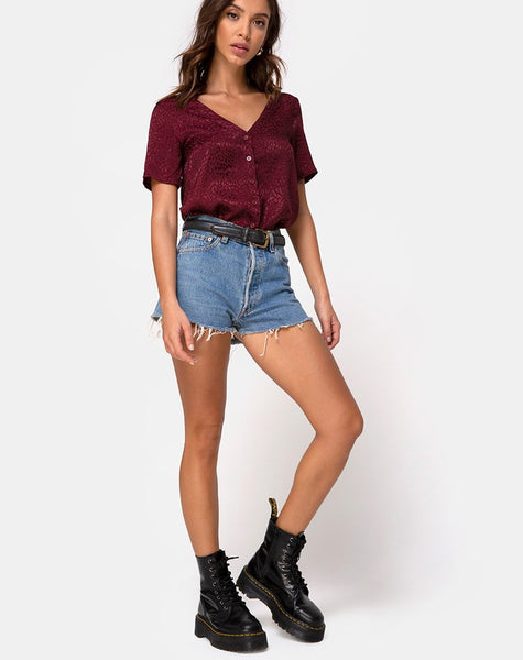Parki Top in Satin Cheetah Burgundy by Motel