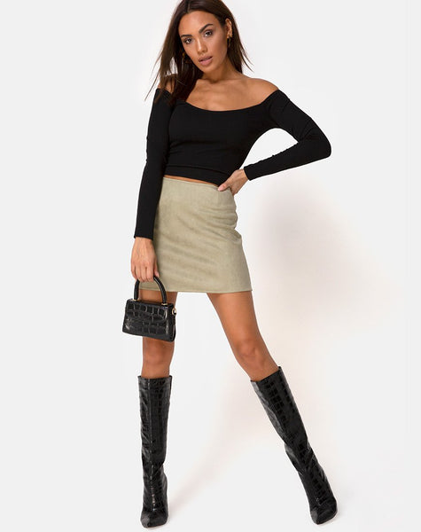 Pelmo Skirt in Suede Khaki by Motel
