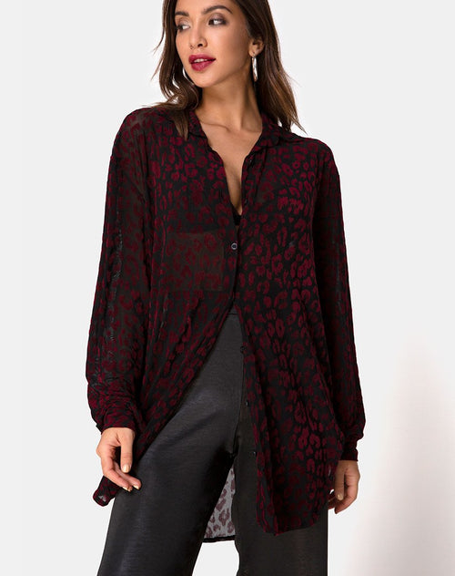 Phobe Shirt in Red Leopard Flock Net by Motel