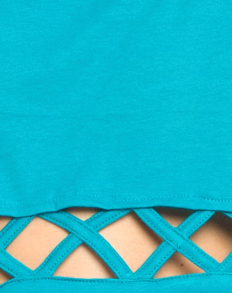 Motel Plait Detail Crop Top In Cyan