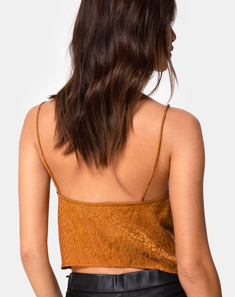 Praha Top in Gold Satin Cheetah by Motel