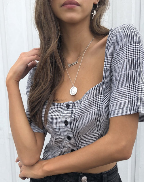 Legia Crop Top in Charles Check Grey By Motel