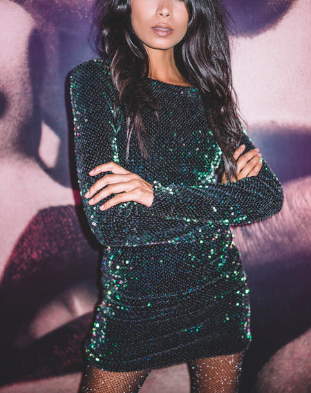 Finn Mini Dress in Galaxy Teardrop Sequin By Motel