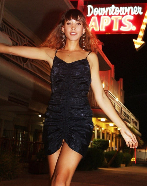 Panthus Slip Dress in Navy Satin Rose by Motel