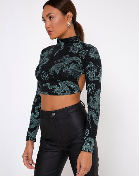 Quelia Top in Dragon Flower Black and Mint by Motel