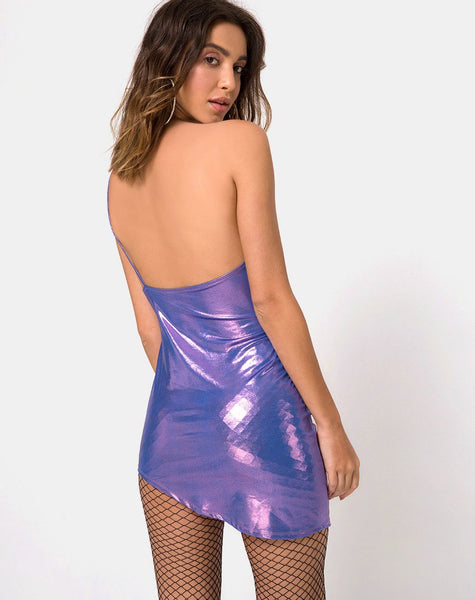 Quisa Bodycon Dress in Metallic Shimmer Lavender by Motel