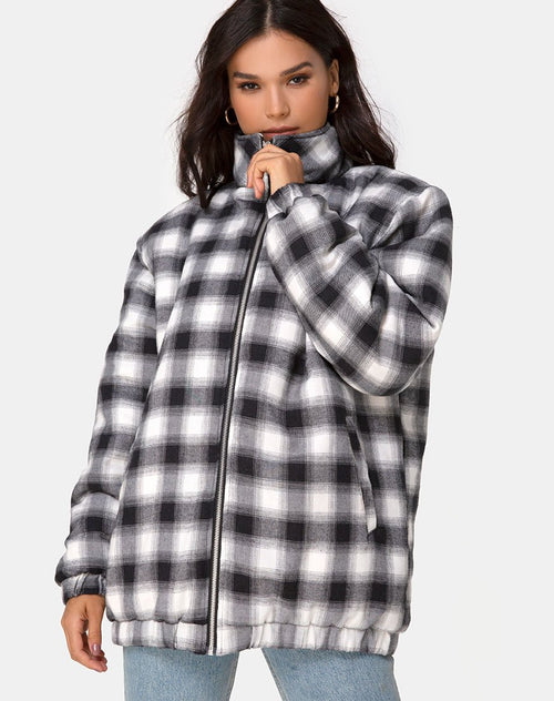 Raven Jacket in Plaid Black White by Motel