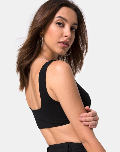 Reka Crop Top in Black with Silver Buckle by Motel