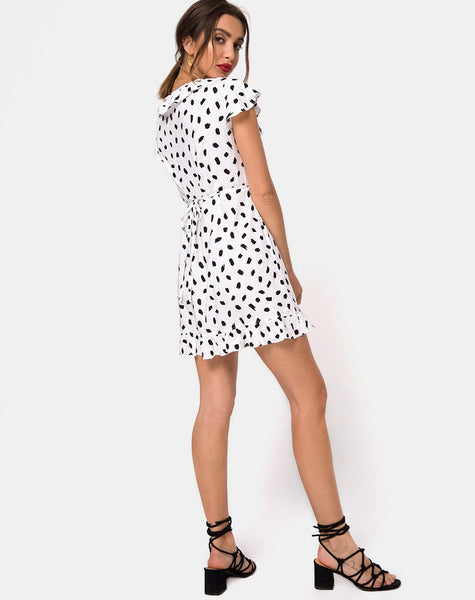 Rica Dress in Diana Dot White by Motel