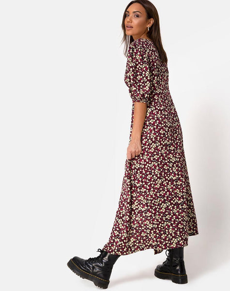 Rigita Dress in Floral Field Plum by Motel