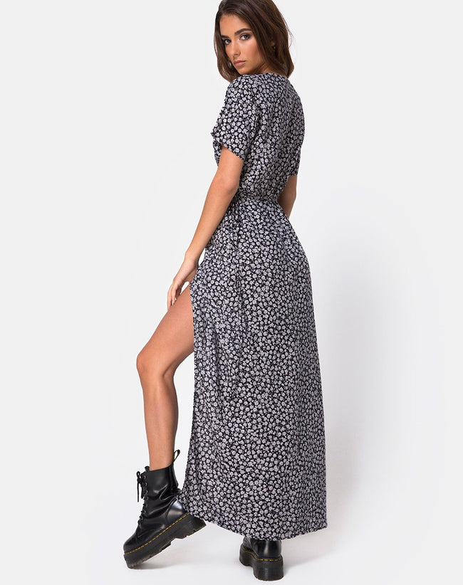 Riva Dress in Ditsy Rose Black By Motel