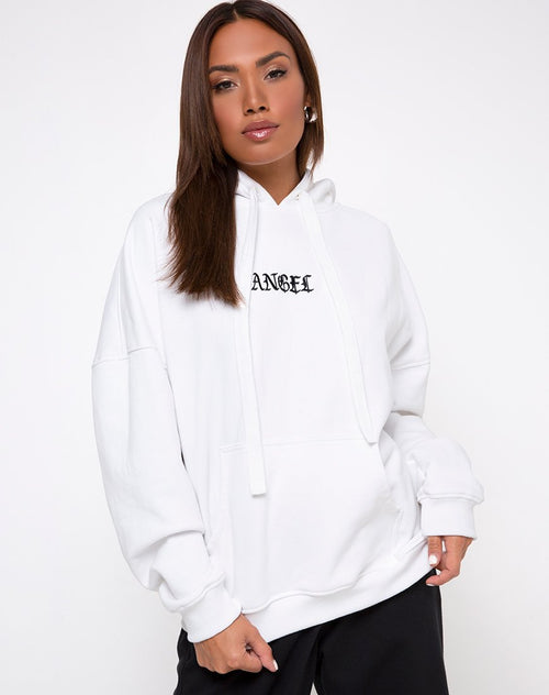 Oversize Hoody in White Angel Embro by Motel