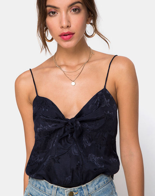 Rodice Bodice in Satin Rose Navy by Motel