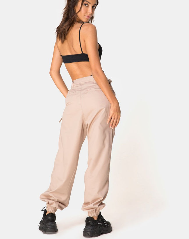Jubie Cargo Trouser in Tan Drill by Motel