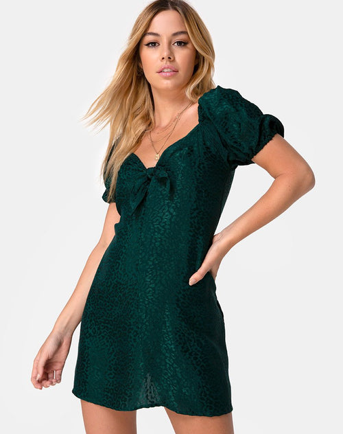 Ropelle Dress in Satin Cheetah Forest Green by Motel