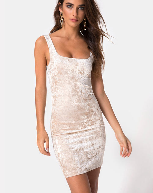 Rosita Bodycon Dress in Cream Crushed Velvet by Motel