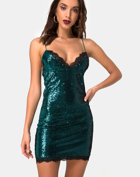 Romini Dress in Midnight Mini Sequin with Black Lace by Motel