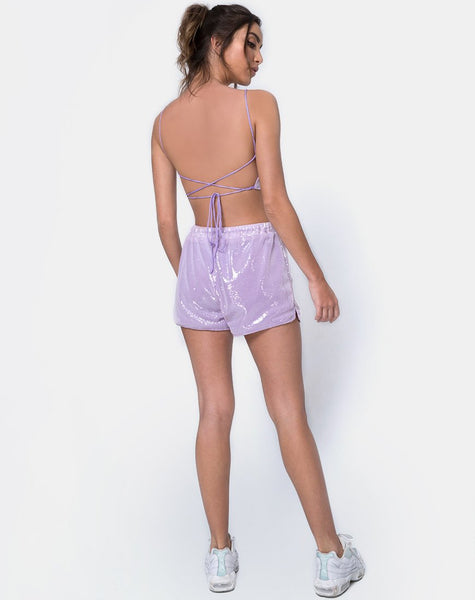 Runner Short in Matte Mini Sequin Lilac by Motel