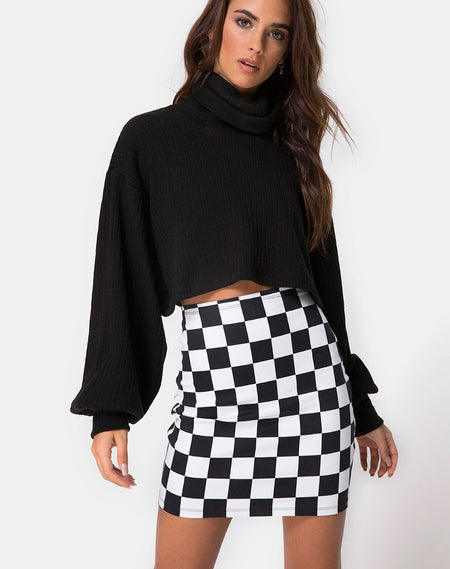 Pelmet Skirt in Winter Plaid Red / Black By Motel