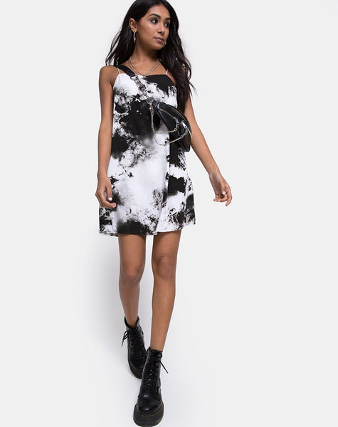 Sagha Slip Dress in Mono Tie Dye Black and White by Motel