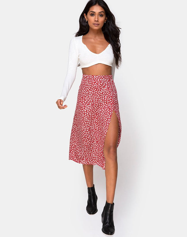 Saika Skirt in Ditsy Rose Red Silver by Motel