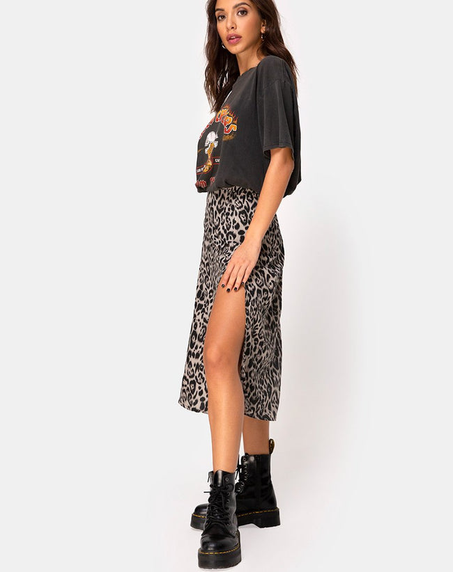 Saika Midi Skirt in Leopard Grey by Motel