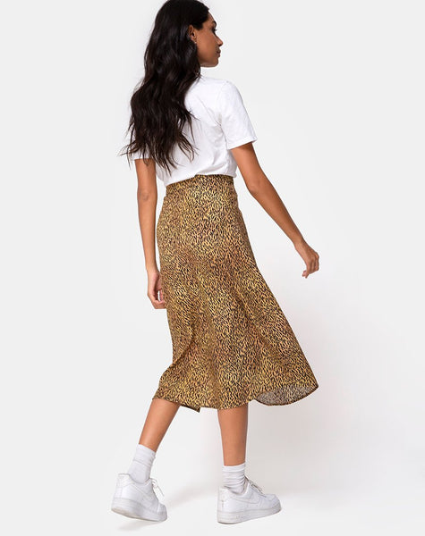 Saika Midi Skirt in Mini Tiger Brown by Motel