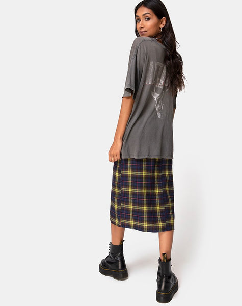 Saika Skirt in Plaid Brown Yellow Check by Motel
