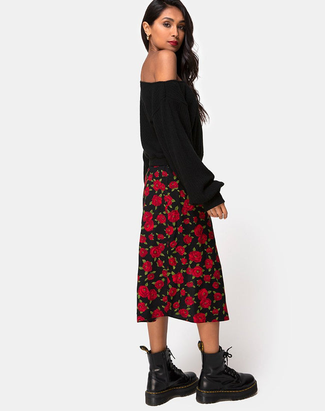 Saika Midi Skirt in Roaming Rose Black by Motel