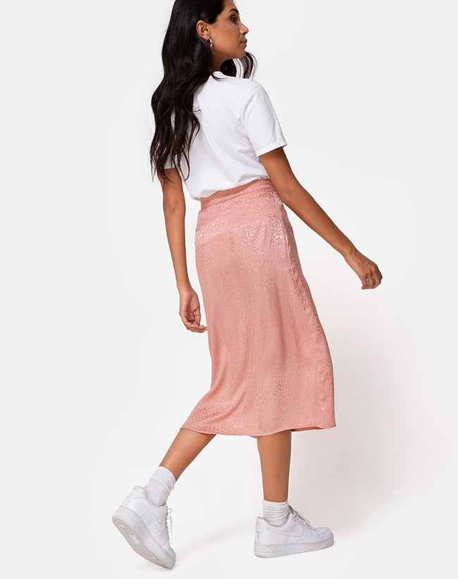 Saika Skirt in Satin Cheetah Dusty Pink by Motel