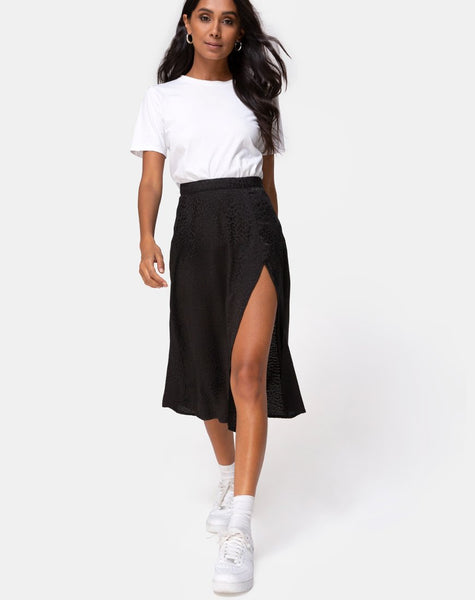 Saika Midi Skirt In Satin Cheetah Black by Motel
