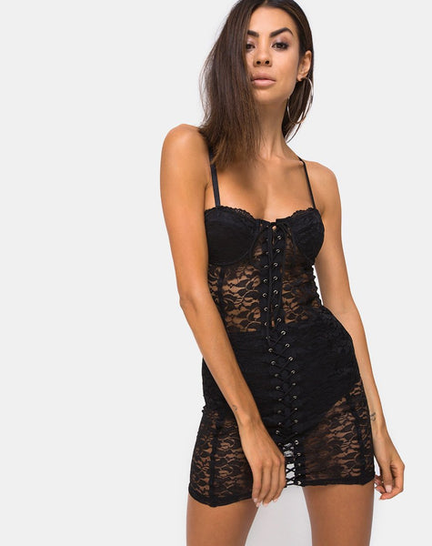 Sakina Bodycon Dress in Lace Black by Motel