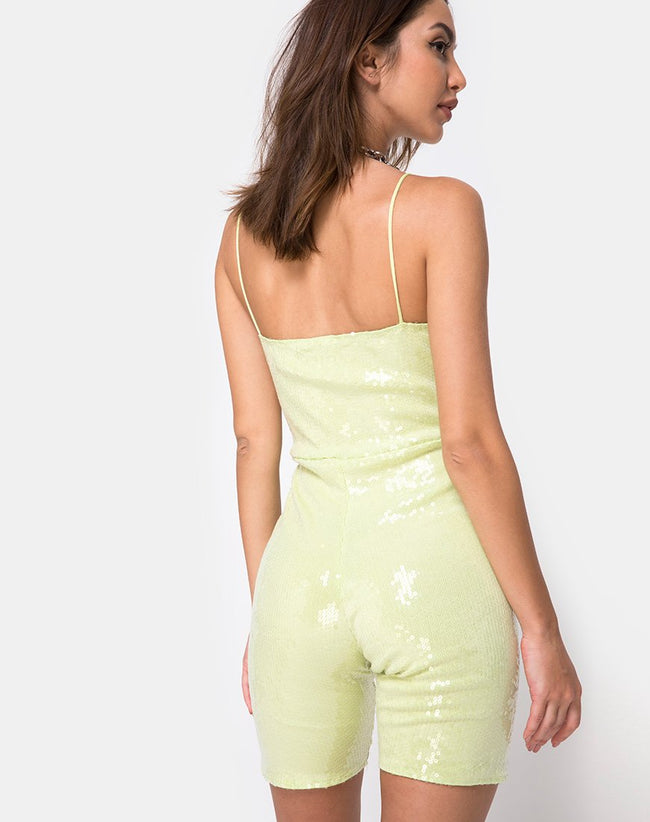 Saleta Unitard in Pistachio Green with Clear Sequin by Motel