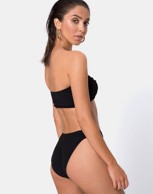 Samara Bikini Bottom in Crinkle Rib Black by Motel